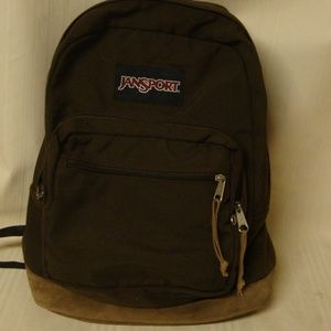 Jansport Brown Backpack Bookbag Leather Bottom Vin